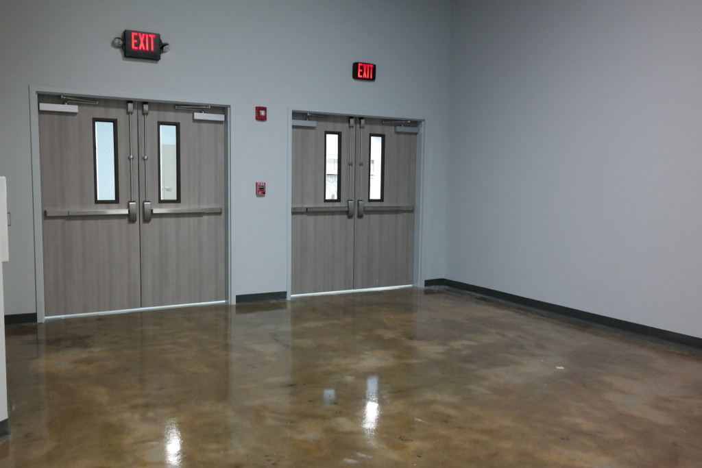 The end result: A floor that had a faux design look, with the imperfections in the substrate creating shading and depth throughout The Church of Eleven22's floor.