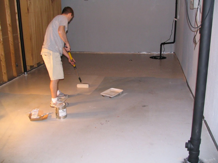 Epoxy paint is very easy to apply bare concrete with a roller. Photo courtesy of www.jimnagel.com